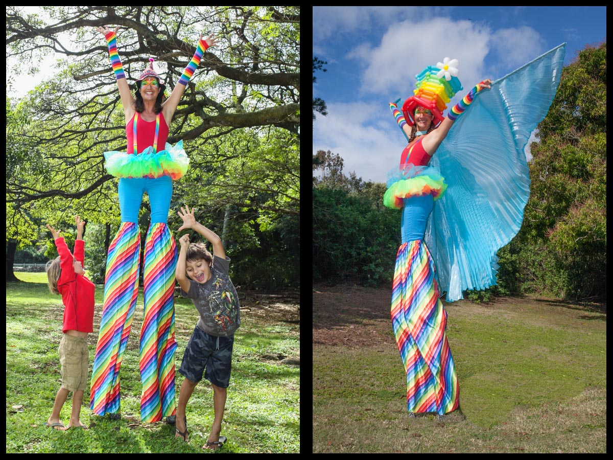 clown stilt walker