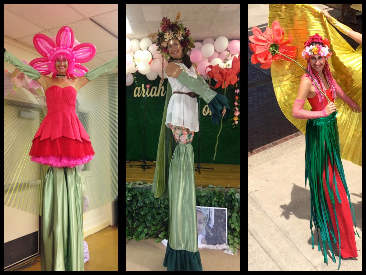 flower stilt walkers