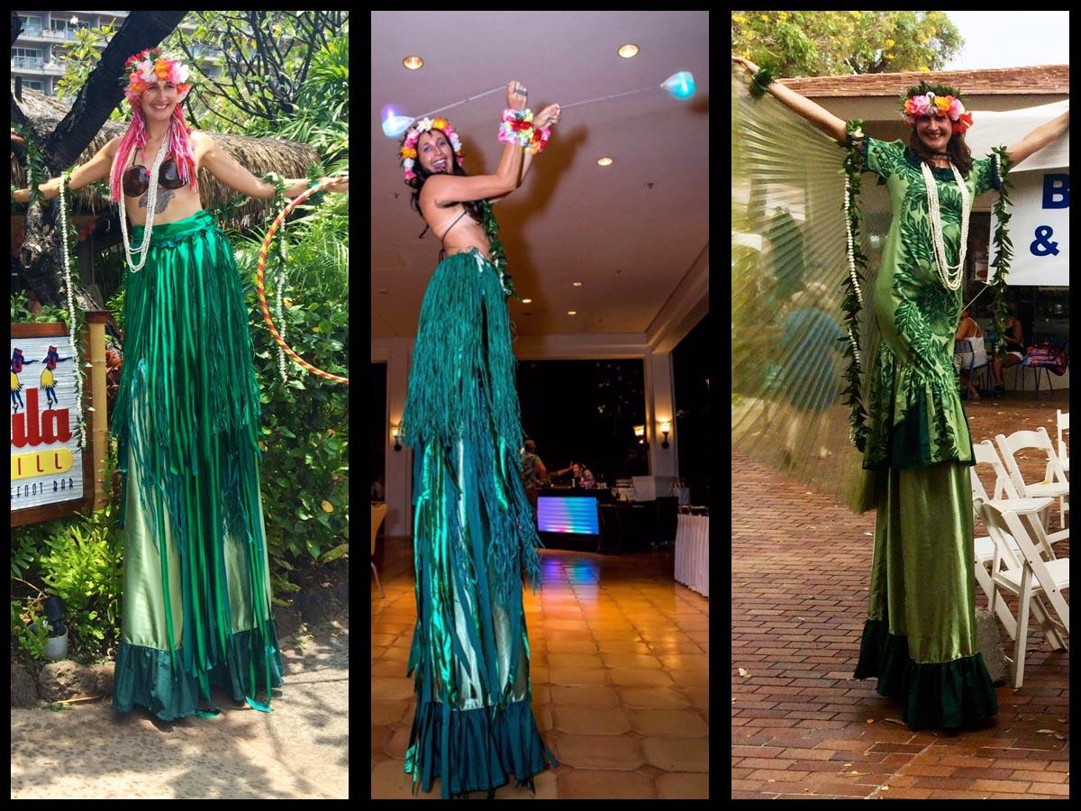 hula girl stilt walker